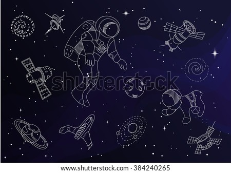 Set of line doodle space objects - stock vector