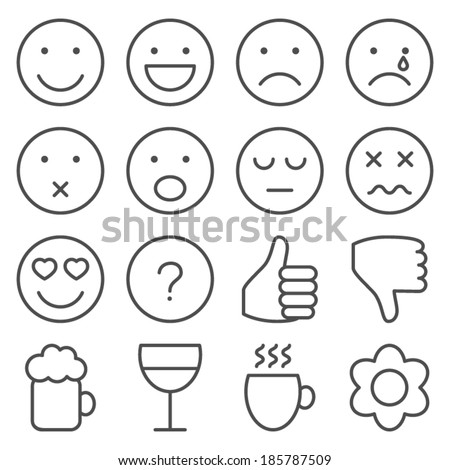 Set of line emoticons - stock vector