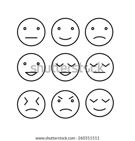 Set of line emoticons. Vector - stock vector