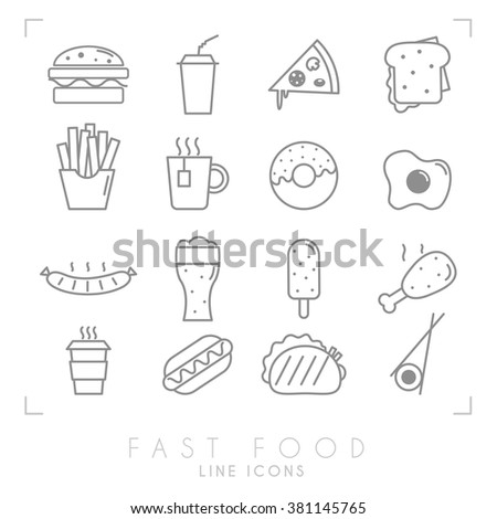 Set of line fast food icons. Flat style. Coffee, hamburger, pizza, sandwich, fried potato, tea, donut, egg, grilled sausage, beer, ice cream, chicken, hot dog, tacos, sushi roll - stock vector