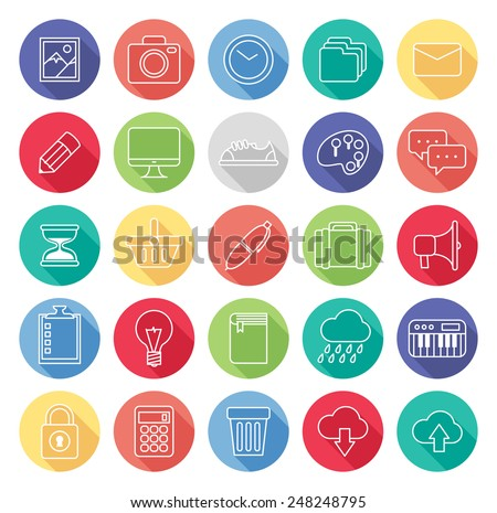 set of line icon - stock vector