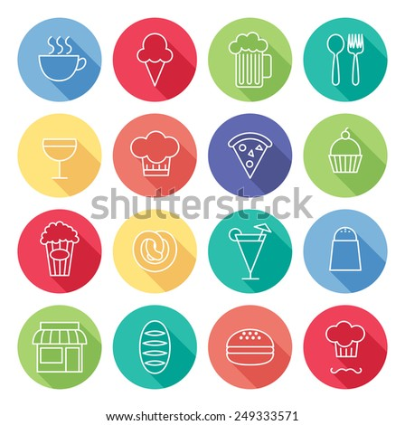 set of line icon related to restaurant - stock vector