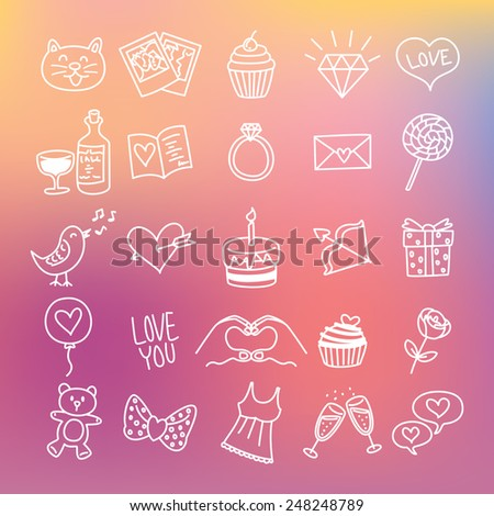set of line icon related to valentine with blur background - stock vector