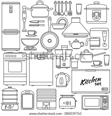 Set of line icons. Kitchen appliances and accessories. Oven and saucepan, fridge and teapot, stove and kettle. Contour icons. Info graphic elements. Simple design. Vector illustration.  - stock vector