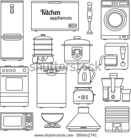 Set of line icons. Kitchen appliances. Oven and toaster, fridge and freezer, stove and dishwasher. Contour icons. Info graphic elements. Simple design. Vector illustration  - stock vector