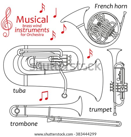 Set of line icons. Musical brass wind instruments for orchestra. Info graphic elements. Simple design. Good for coloring books. Vector illustration - stock vector