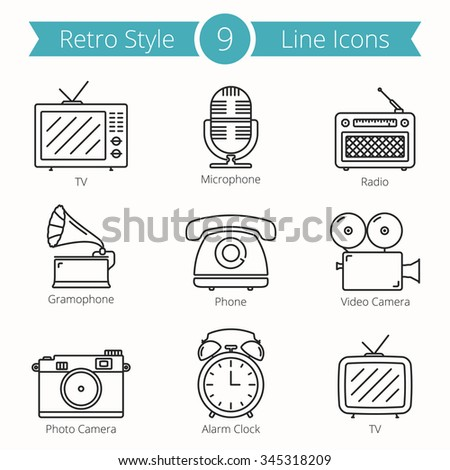 Set of 9 line icons of retro style objects - tv, microphone, radio, gramophone, phone, video and photo camera, alarm clock, vector eps10 illustration - stock vector