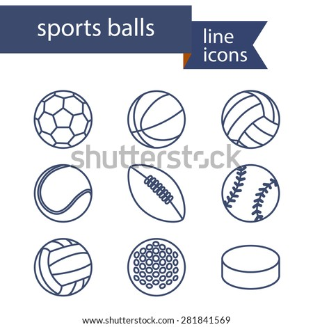 Set of line icons of sport balls. Vector illustration.
