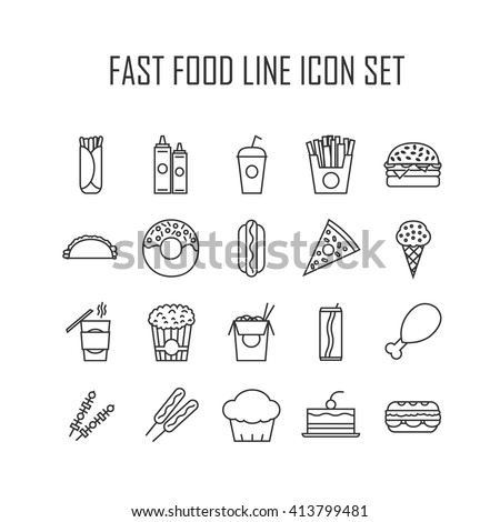 Set of line icons with fast food for restaurant or commercial