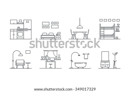 Set of line  interior design icons. Stock vector. - stock vector