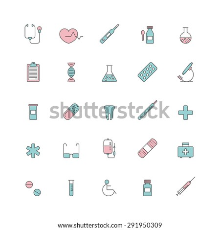set of line minimalistic medical icons - stock vector