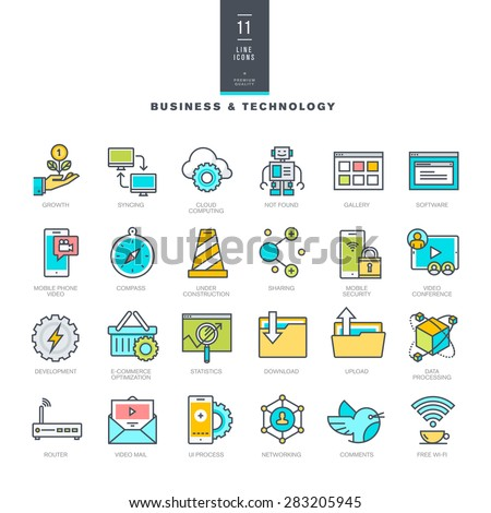Set of line modern color icons for business and technology     - stock vector