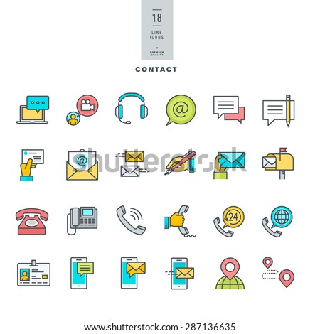 Set of line modern color icons for contact, communication, media      - stock vector