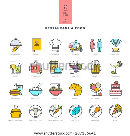 Set of line modern color icons for restaurant and food     - stock vector