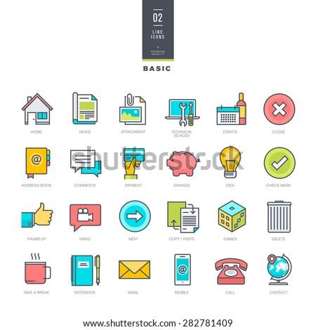 Set of line modern color icons for website design     - stock vector
