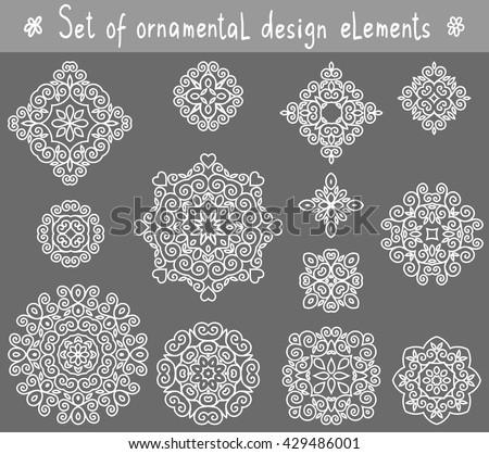 Set of line ornamental design elements. Geometric circular ornaments. - stock vector