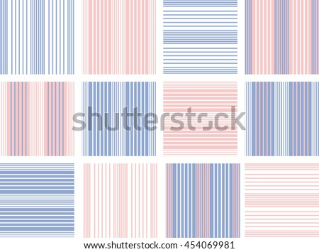 Set of line Vector seamless pattern.Pink, white and blue background. Trendy color Rose Quartz and blue serenity - stock vector