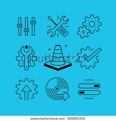 Set of line vectors icons in the flat style. Setup and installation of software updates, software and components. - stock vector