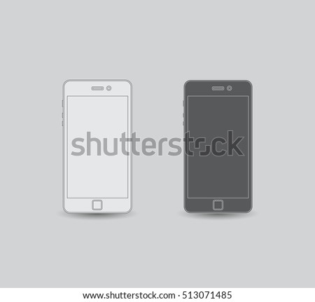Set of linear cellphones, flat design, stock vector