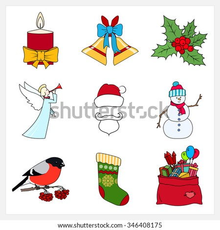 Set of Linear Colorful Christmas Icons,Festive Candle,Jingle Bells,Holly Berry,Christmas Angel,Santa Claus,Snowman,Bullfinch,Bag of Santa Claus with Gifts,Sock Decorated Snowflakes,Vector Illustration - stock vector