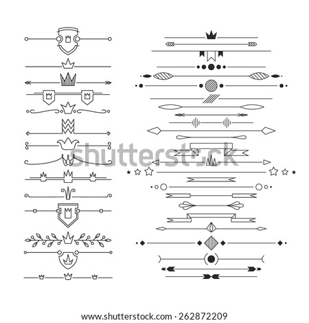 Set of linear empty, flat headers. Isolated, editable.  - stock vector