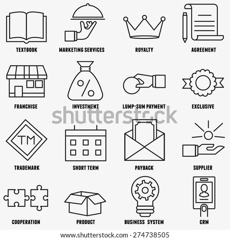 Set of linear franchise icons. Franchise as a successful business model - vector icons - stock vector