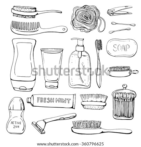 Set of linear hand drawn cosmetics and shower accessories. Cosmetics for washing, gel, lotion, shampoo, wisp of bast, cream, soap, razor, comb, toothbrush, deodorant. Sketch. Health and care. Beauty.