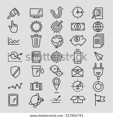 Set of linear hand drawn icons. concept business web media seo marketing engine optimization site  - stock vector