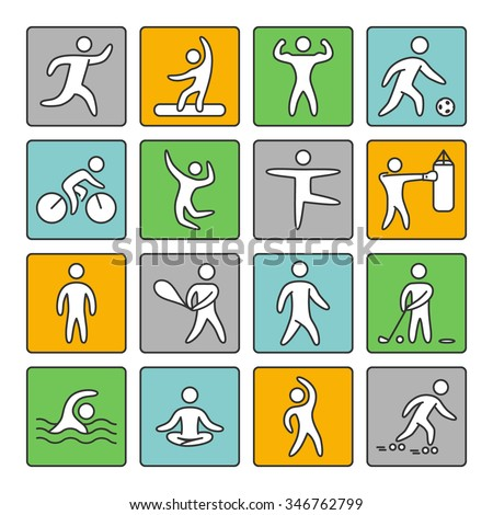 Set of linear icons for popular sports. Vector shapes athletes on a white background.