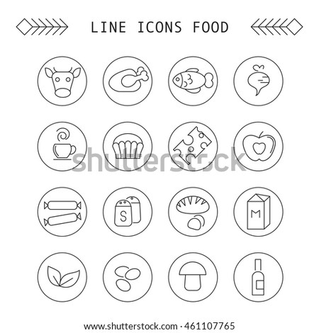Set of linear icons of different type of food and drink