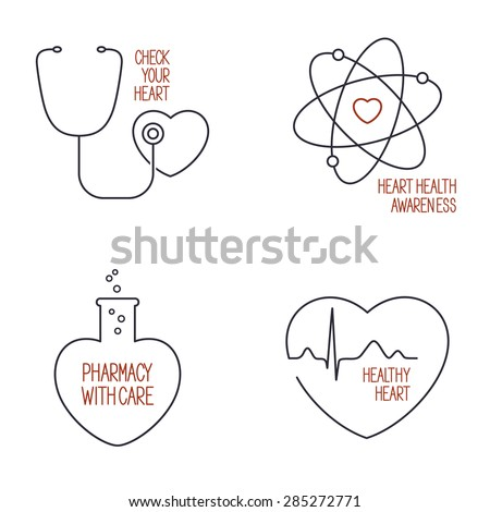 Set of linear medical icons and emblems for heart health care and pharmacy