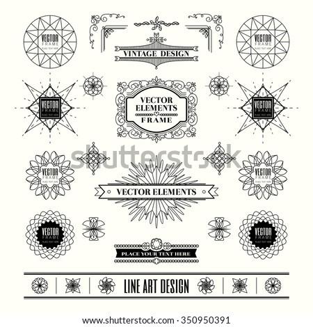Set of linear thin line art deco retro vintage design elements with frame corner badge in geometric shape - stock vector