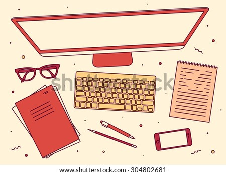 designer office desk isolated objects top view. set of linear vector design illustration modern business office and workspace top view designer desk isolated objects s