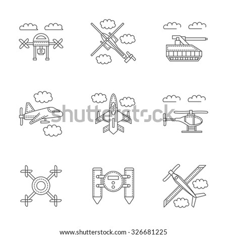 Set of linear vector icons and signs for military drones. Unmanned robots for surveillance, spy. Design elements for business and website. - stock vector