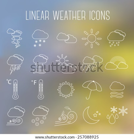 Set of linear weather icons, on blurry background - stock vector