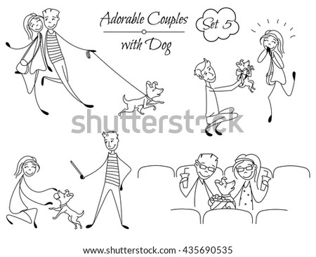 Set of lined couples in the sketch style. Characters in different situations. Couples playing with their dog, sitting at the cinema. Boyfriend with girlfriend in love. hand drawn Vector illustration - stock vector
