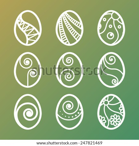 Set of lined Easter eggs icons on gradient background - stock vector