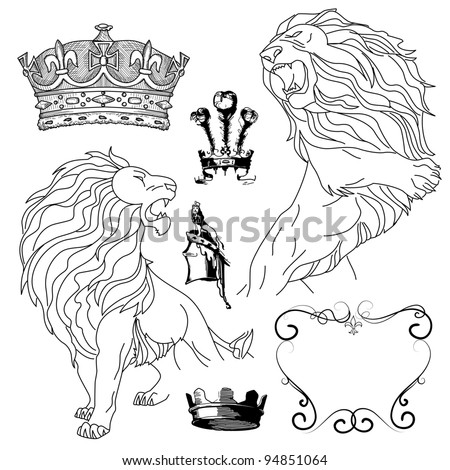 Set of lion and crown heraldry - stock vector
