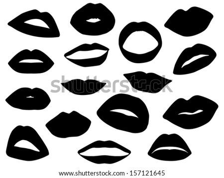 Lips Vector Black Set of lips illustrated on