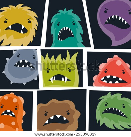 Set of little angry viruses, microbes and monsters.