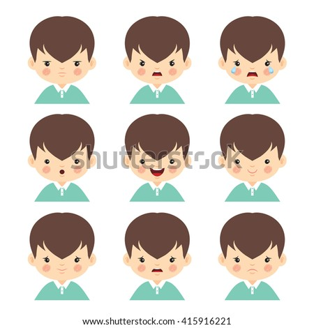 Set of little boy with different emotions isolated on white background. Face expression vector illustration.  - stock vector