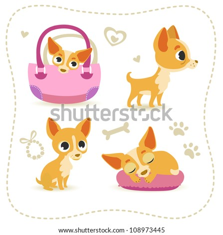 Set of little chihuahua. - stock vector