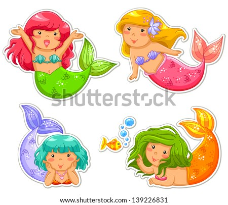 set of little mermaid (jpeg available in my gallery) - stock vector