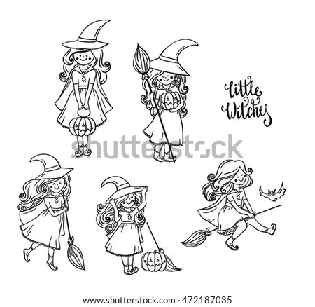 Set of Little Witch. Halloween Witch. For print on T-shirts, for Halloween cards and banners. Halloween collection. Isolated on white