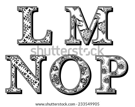 Set of LMNOP uppercase alphabet letters in antiqua font with assorted floral patterns in black and white vintage style with drop shadow, vector design elements for typography - stock vector
