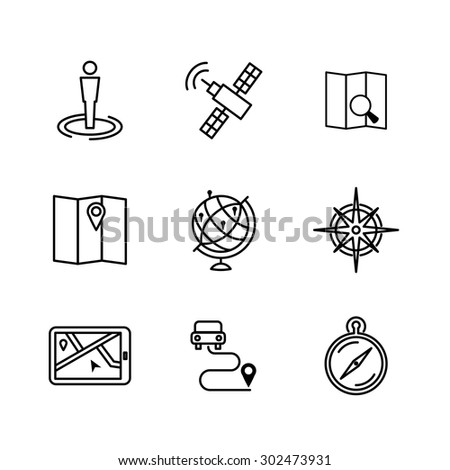 Set of location and navigation line icons. Navigation orientation, signpost and mapping, satellite and landmark, arrow direction, vector illustration - stock vector