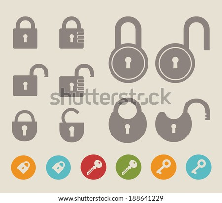 Set of lock  icons and keys. Vector illustration. - stock vector