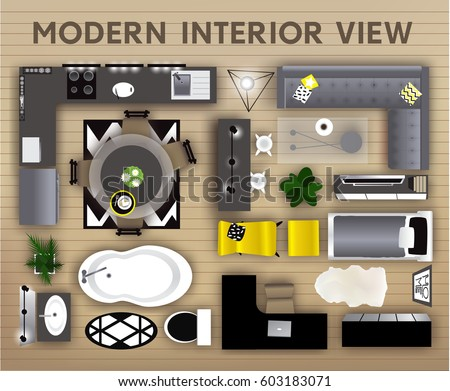 Modern Furniture Top View office interior furniture icons top view stock vector 347777063