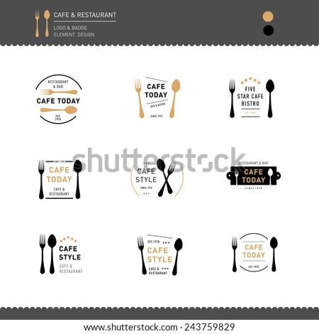 Set of Logo and Badge for Restaurant and Cafe  - stock vector