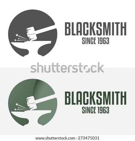 Set of logo, badge, label, emblem and logotype elements for blacksmith - stock vector